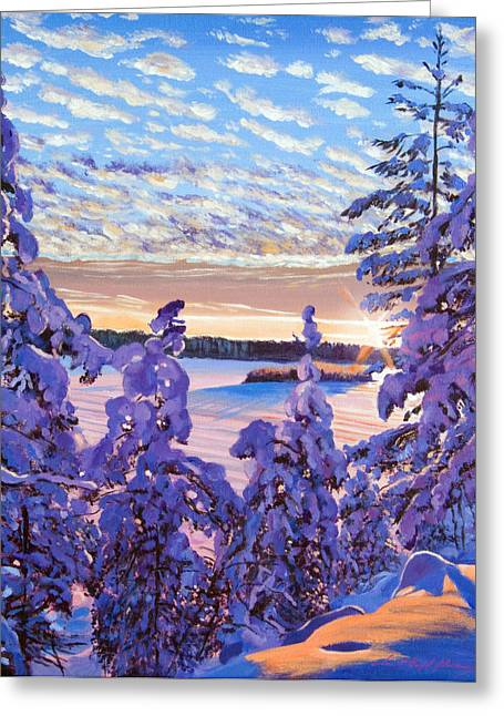 Snow Scene Paintings Greeting Cards - Snow Draped Pines Greeting Card by David Lloyd Glover