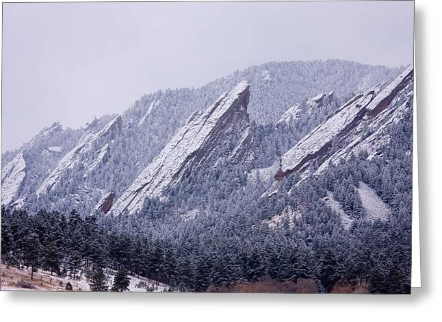 Flatirons Greeting Cards - Snow Dusted Flatirons Boulder Colorado Greeting Card by James BO  Insogna