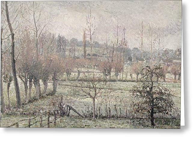 Blanche Greeting Cards - Snow Effect at Eragny Greeting Card by Camille Pissarro