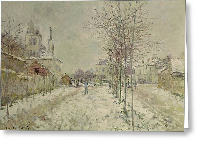Wintry Greeting Cards - Snow Effect Greeting Card by Claude Monet
