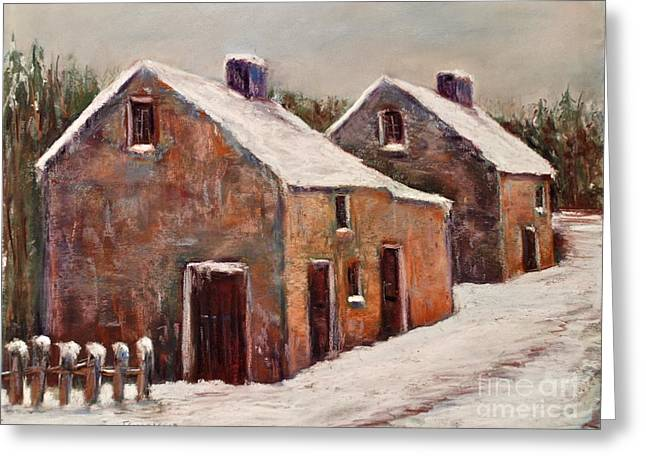 Old Street Pastels Greeting Cards - Snow Fall in Ireland Greeting Card by Joyce A Guariglia