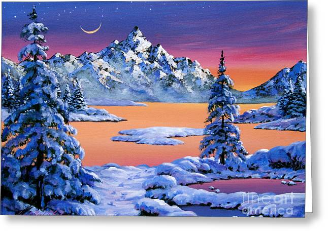 Snowy Trees Paintings Greeting Cards - Snow Fantasy Greeting Card by David Lloyd Glover