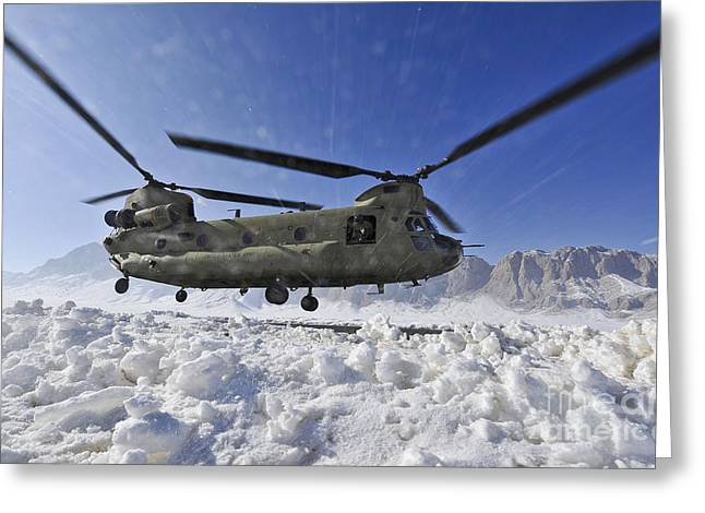 Zabul Greeting Cards - Snow Flies Up As A U.s. Army Ch-47 Greeting Card by Stocktrek Images