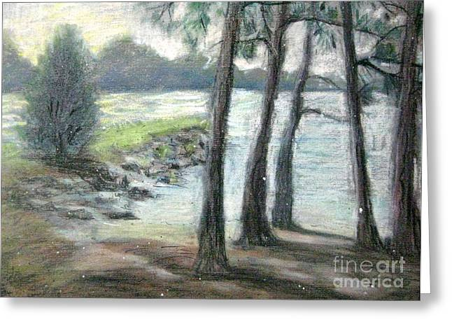 Park Scene Pastels Greeting Cards - Snow Flurrys at Galts Ferry Greeting Card by Gretchen Allen