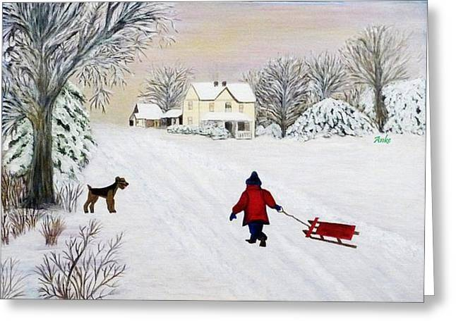 Dogs In Snow. Greeting Cards - Snow Fun Greeting Card by Anke Wheeler