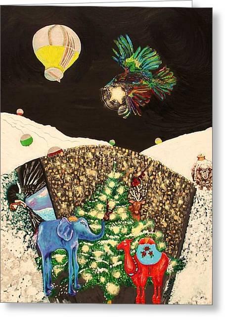 Town Mixed Media Greeting Cards - Snow Globe Greeting Card by Lisa Kramer
