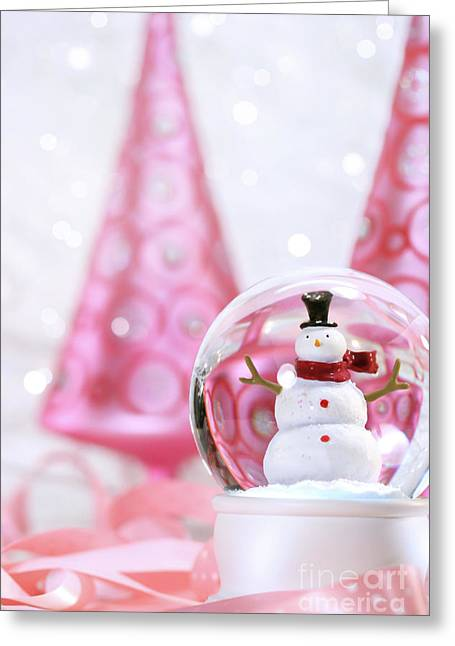 Snow Globe Greeting Cards - Snow globe with pink  trees Greeting Card by Sandra Cunningham