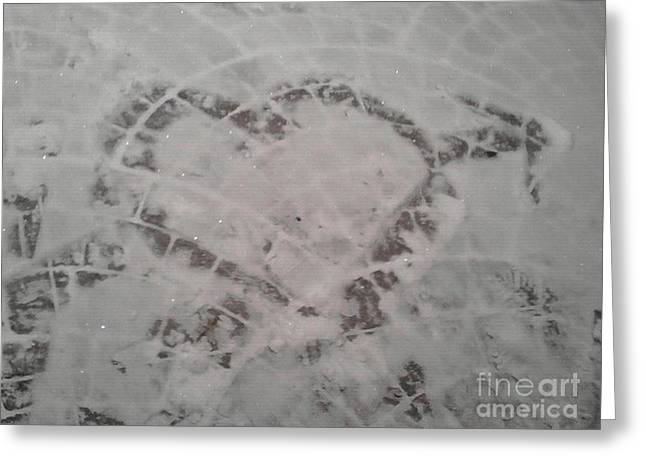 First Love Pyrography Greeting Cards - Snow Heart 2012 Greeting Card by Catherine Herbert