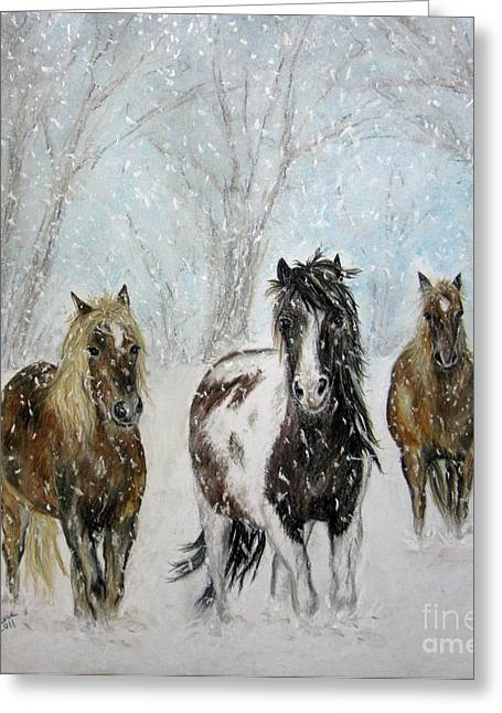 Holiday Pastels Greeting Cards - Snow Horses Greeting Card by Teresa Vecere