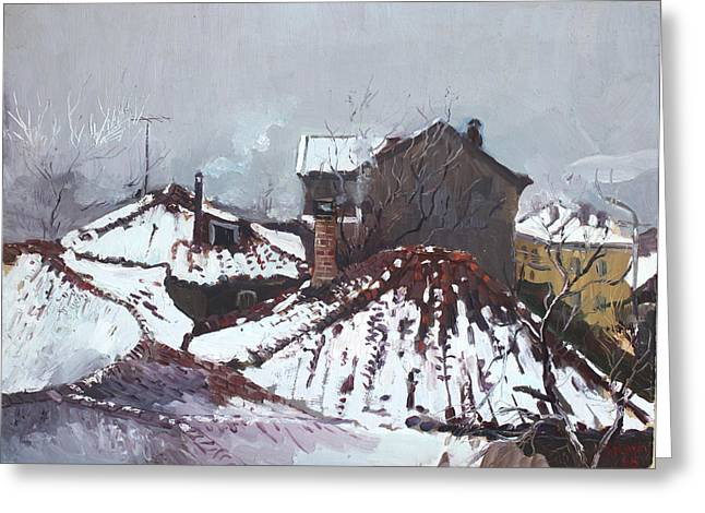 Ne Greeting Cards - Snow in Elbasan Greeting Card by Ylli Haruni