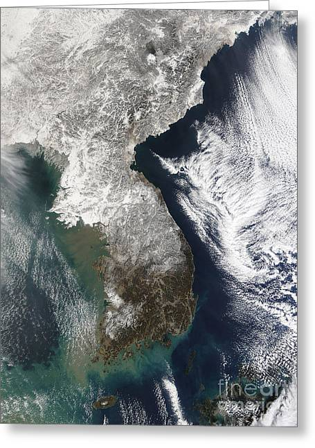 Physical Body Greeting Cards - Snow In Korea Greeting Card by Stocktrek Images