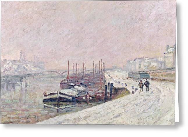 Fallen Snow Greeting Cards - Snow in Rouen Greeting Card by Jean Baptiste Armand Guillaumin