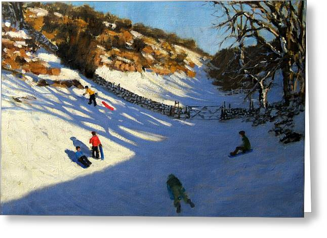 Toboggan Greeting Cards - Snow in the valley Greeting Card by Andrew Macara