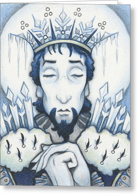 Aceo Drawings Greeting Cards - Snow King Slumbers Greeting Card by Amy S Turner