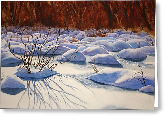 Drifting Snow Paintings Greeting Cards - Snow Mounds Greeting Card by Daydre Hamilton