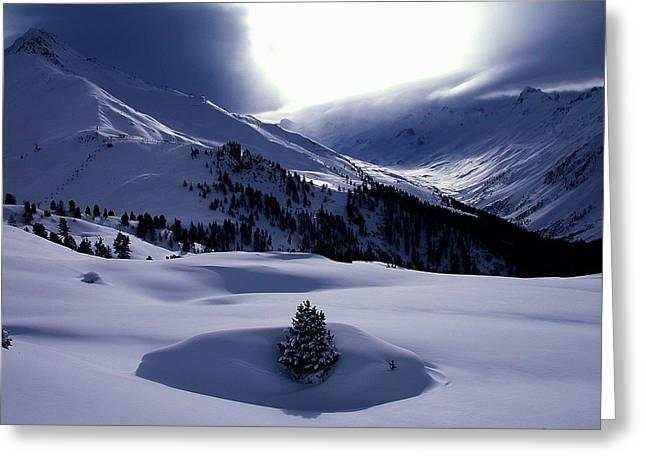 Framedprint Greeting Cards - Snow Mountain Austria  Greeting Card by Colette V Hera  Guggenheim