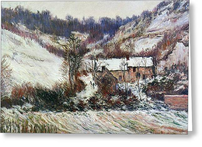 Wintry Greeting Cards - Snow near Falaise Greeting Card by Claude Monet