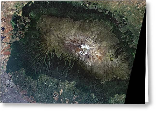 Snow Capped Greeting Cards - Snow On Mount Kilimanjaro, 2000 Greeting Card by Nasa