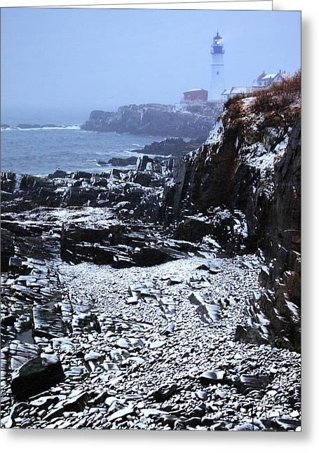 Maine Lighthouses Greeting Cards - Snow On Portland Head Greeting Card by Rick Berk
