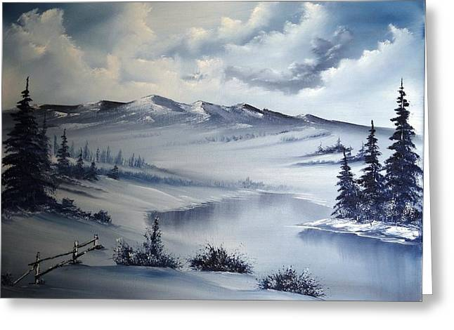 Bob Ross Paintings Greeting Cards - Snow on the Range Greeting Card by John Koehler