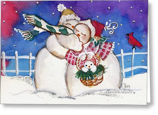 Snow People Greeting Card by Sylvia Pimental
