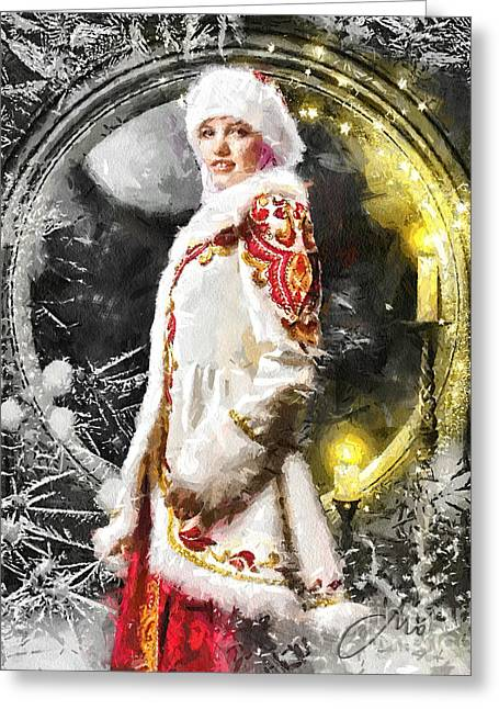 Winter Night Greeting Cards - Snow Queen Greeting Card by Mo T