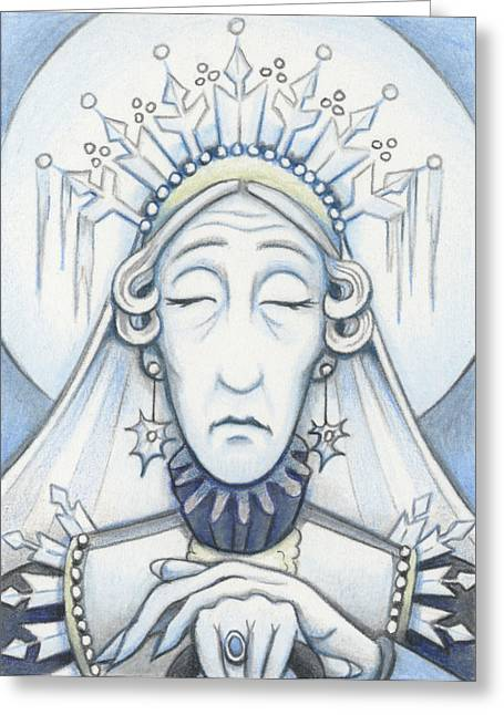 Aceo Drawings Greeting Cards - Snow Queen Mum Slumbers Greeting Card by Amy S Turner