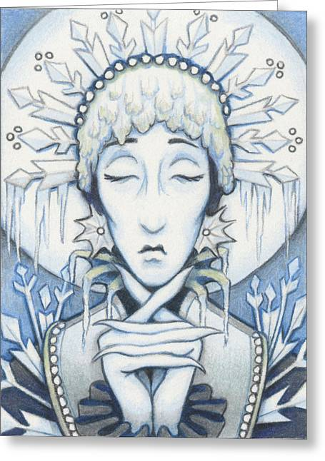 Aceo Drawings Greeting Cards - Snow Queen Slumbers Greeting Card by Amy S Turner