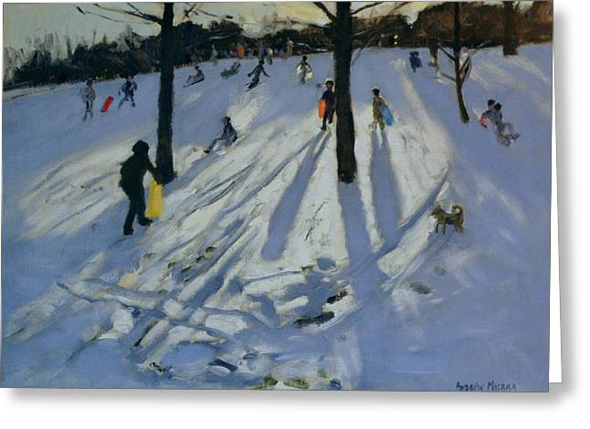 Toboggan Greeting Cards - Snow Rykneld Park Derby Greeting Card by Andrew Macara