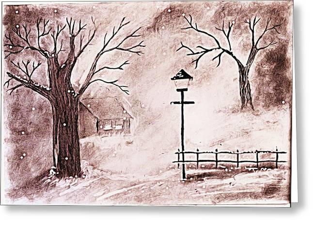 Oil Lamp Drawings Greeting Cards - Snow Greeting Card by Sanjay Avasarala