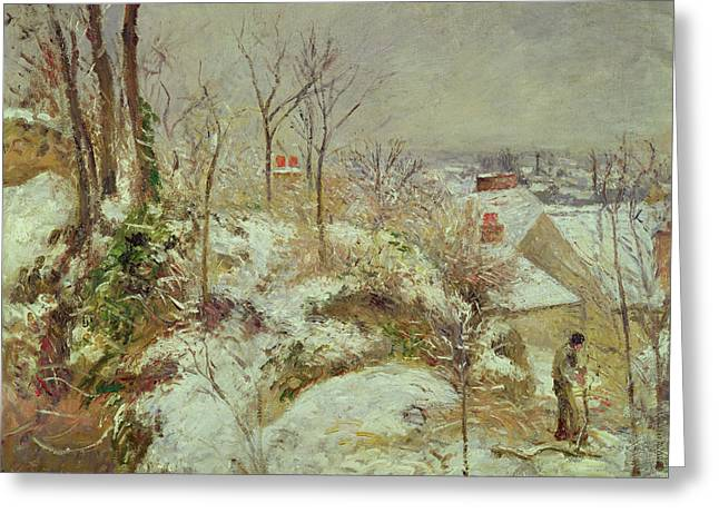 Fallen Snow Greeting Cards - Snow Scene Greeting Card by Camille Pissarro