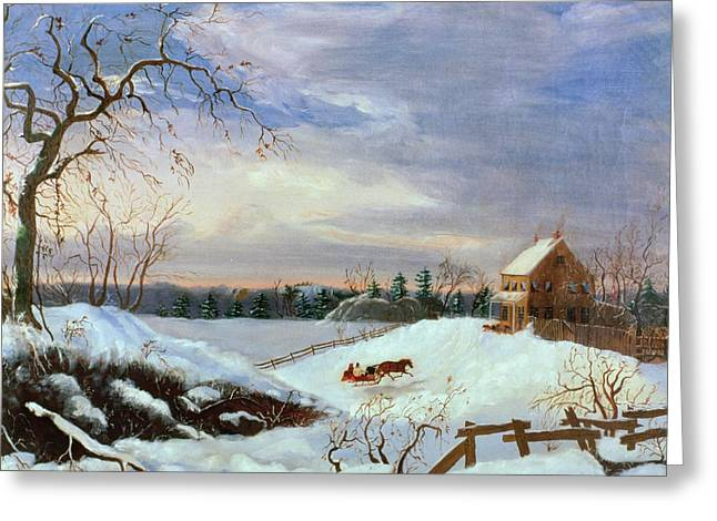New England Snow Scene Greeting Cards - Snow scene in New England Greeting Card by American School