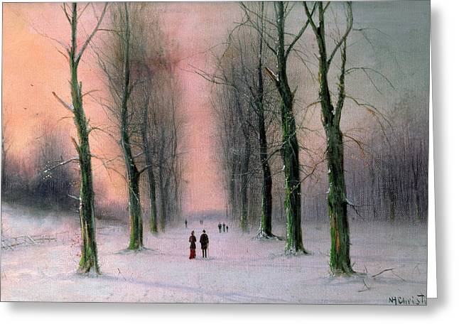 Snow Scene Paintings Greeting Cards - Snow Scene Wanstead Park   Greeting Card by Nils Hans Christiansen