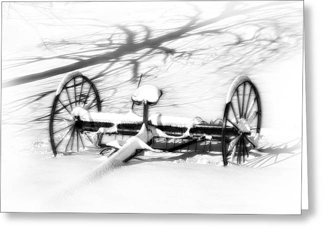 Old Farm Equipment Greeting Cards - Snow Shadows Greeting Card by Kathy Jennings