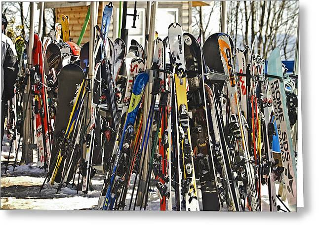 Susan Leggett Greeting Cards - Snow Skis at Resort Greeting Card by Susan Leggett