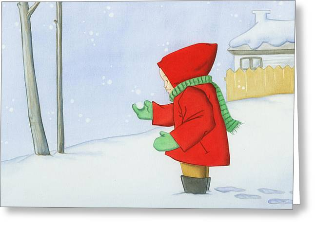 Cartoony Greeting Cards - Snow Greeting Card by Stacy Drum