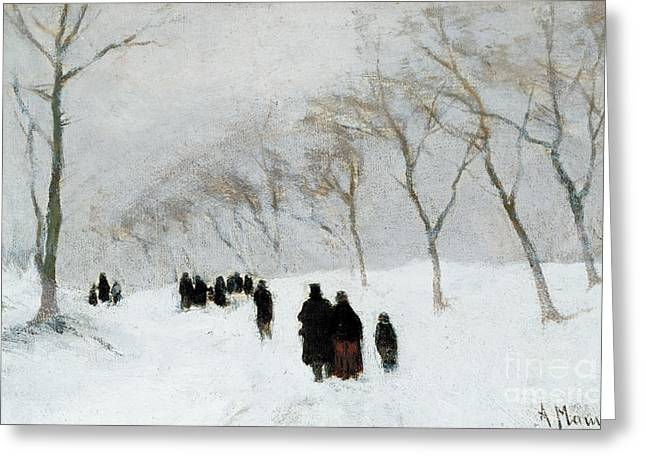 Snow Storm Greeting Card by Anton Mauve