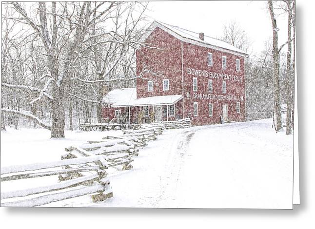 Split Rail Fence Greeting Cards - Snow Storm at Bowens Mill Greeting Card by Randall Nyhof