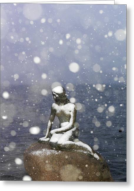 The Little Mermaid Greeting Cards - Snow Storm On The Little Mermaid Statue Greeting Card by Keenpress