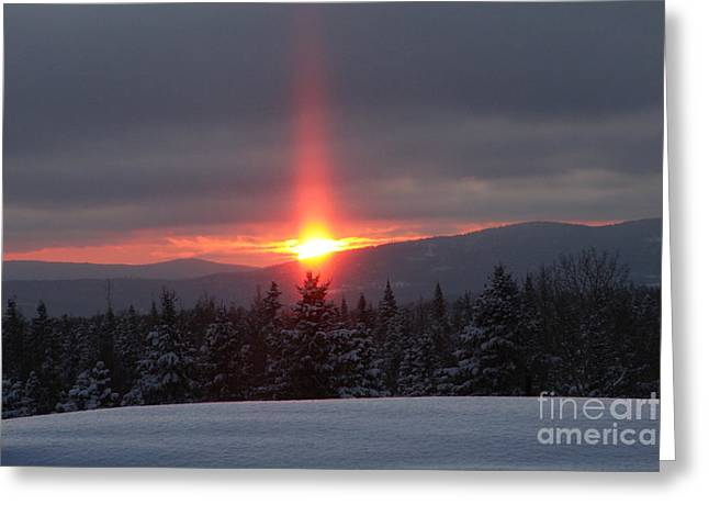 Snow Sunset Greeting Card by Brenda Doucette