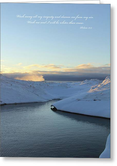 Psalm 51:2 Greeting Cards - Snow wave splash water Greeting Card by Kevin Doty