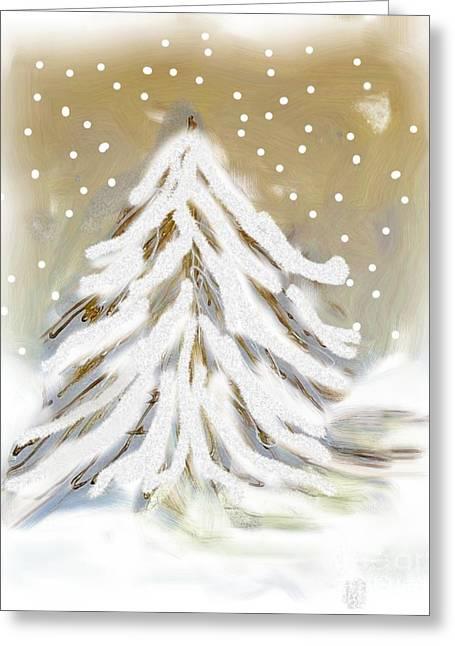 Snow Tree Prints Greeting Cards - Snow White Tree Greeting Card by Marsha Heiken