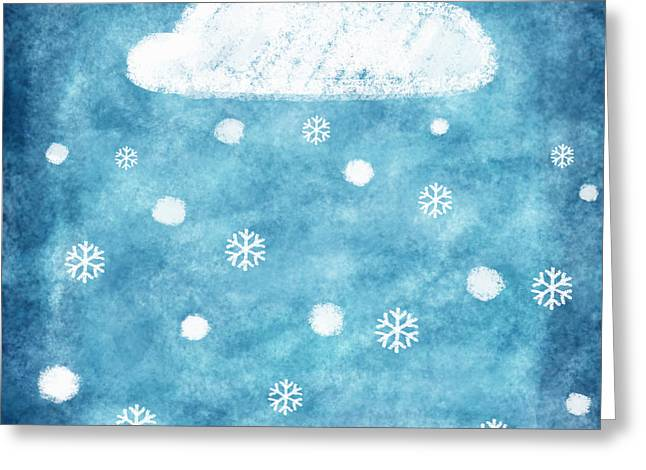 Temperature Greeting Cards - Snow Winter Greeting Card by Setsiri Silapasuwanchai
