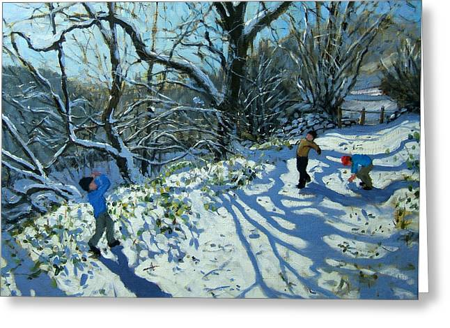 English Landscape Greeting Cards - Snowball fight Greeting Card by Andrew Macara