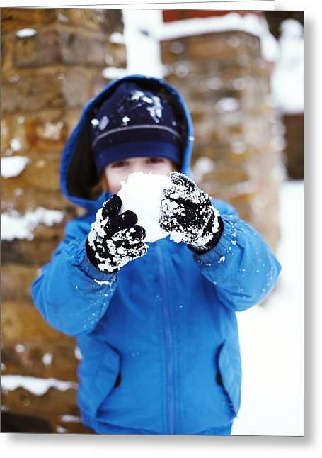 4-5 Years Greeting Cards - Snowball Fight Greeting Card by Ian Boddy