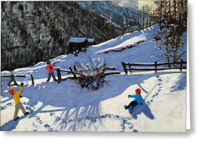Swiss Greeting Cards - Snowballers Greeting Card by Andrew Macara