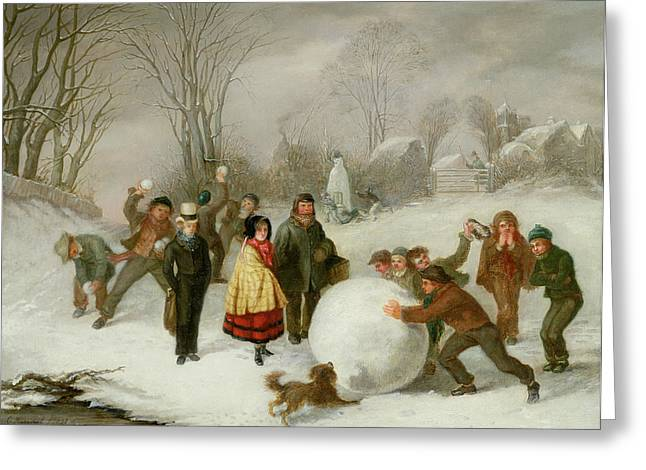 Wintry Greeting Cards - Snowballing   Greeting Card by Cornelis Kimmel