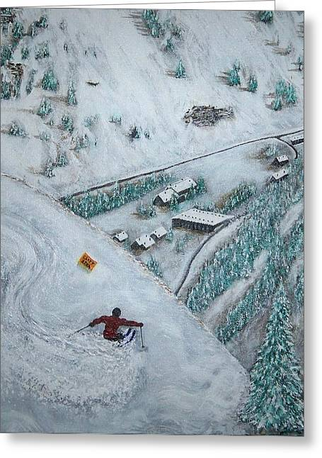 Action Ski Art Greeting Cards - Snowbird Steeps Greeting Card by Michael Cuozzo