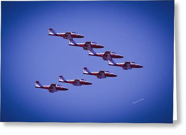 Airshow Flight Greeting Cards - Snowbird V Formation Greeting Card by DigiArt Diaries by Vicky B Fuller