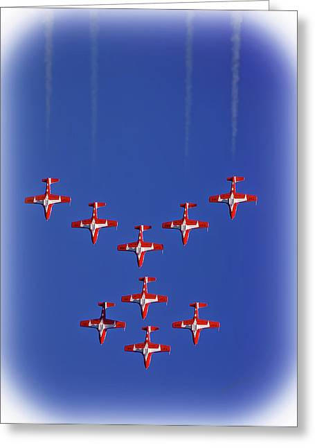 Airshow Flight Greeting Cards - Snowbirds Above the Beach Greeting Card by DigiArt Diaries by Vicky B Fuller